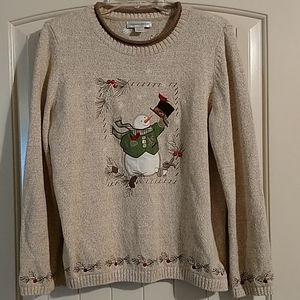 Christopher & banks snowman red bird sweater